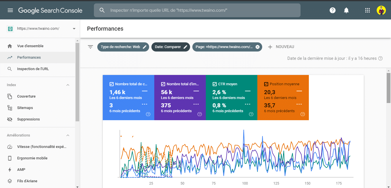 Comparer les performance d une page dans la Search Console 2