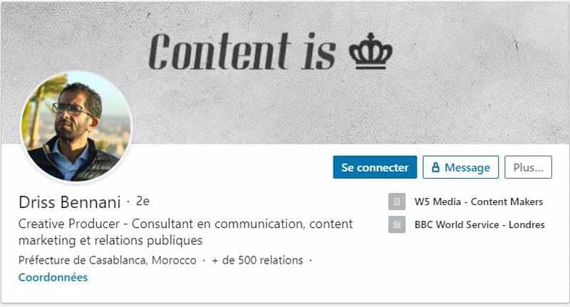 Profil LinkedIn Bennani Driss