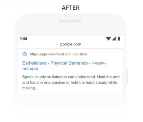 Reponse de Google apres BERT a l exemple 2