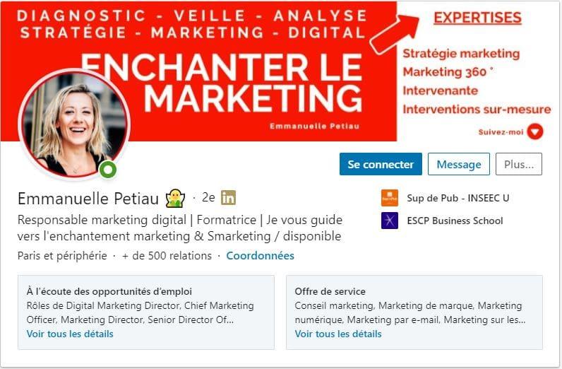 Profil LinkedIn Emmanuelle Petiau
