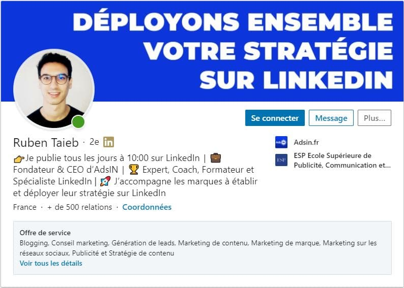 Profil LinkedIn Ruben Taieb
