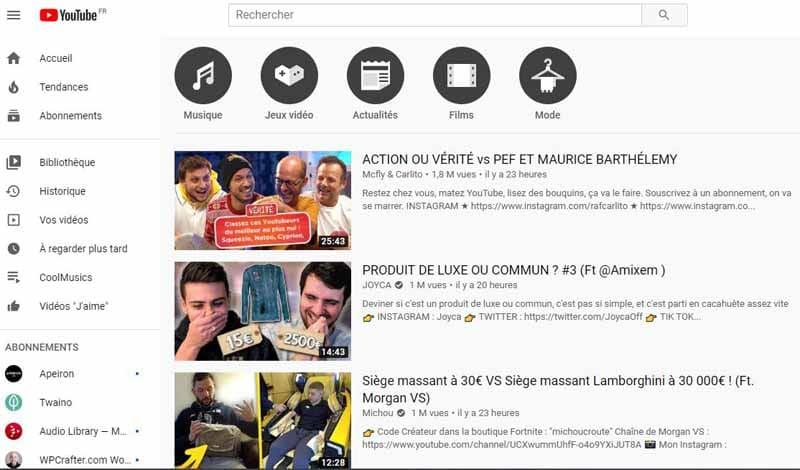 Video tendance de YouTube