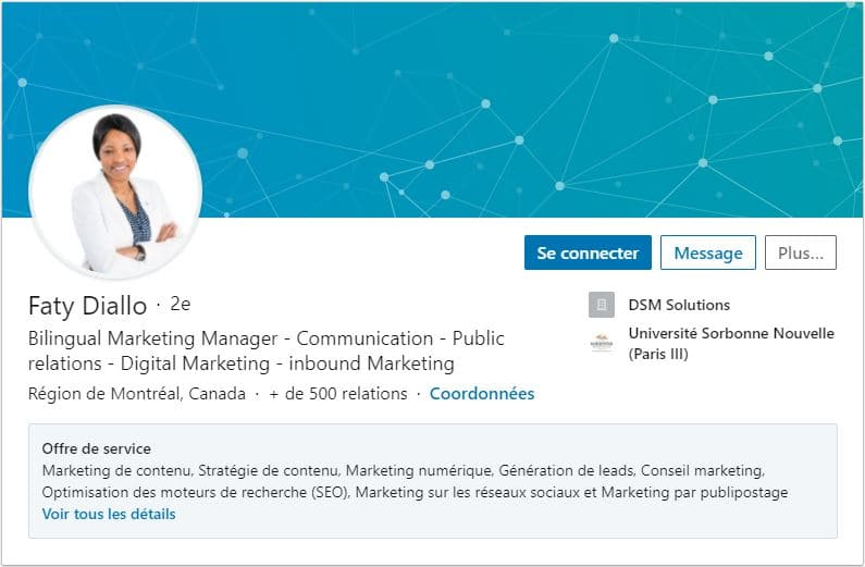 Profil LinkedIn Faty Diallo