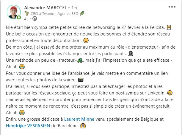 Publication LinkedIn apres la rencontre networking