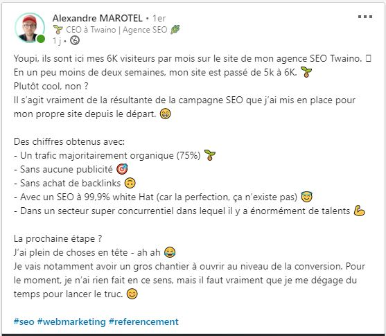 Publication de LinkedIn sur le passage de 5 000 a 6 000 de twaino