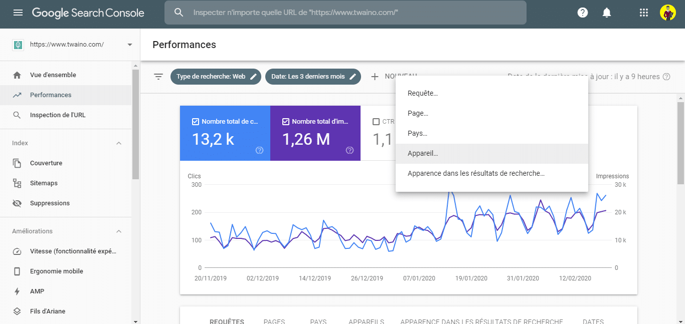 Comparer les donnees mobile et ordinateur dans la Search Console