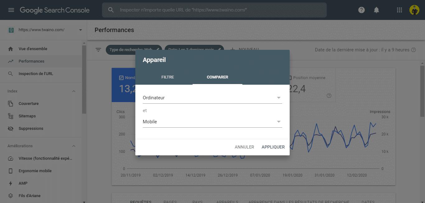 Comparer les donnees mobile et ordinateur dans la Search Console 1