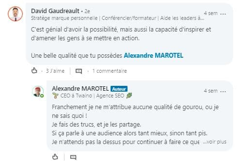 Discussions encourageant sur LinkedIn 2