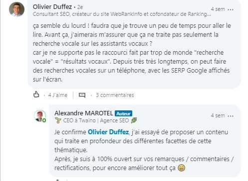 Discussions encourageant sur LinkedIn 4