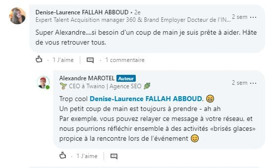 Appreciation extremenent positive de la communaute LinkedIn sur la rencontre networking organise 4