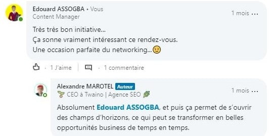Appreciation extremenent positive de la communaute LinkedIn sur la rencontre networking organise 6