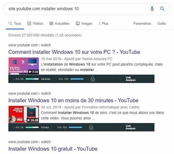 SEPR des videos youtube sur installer windows 10