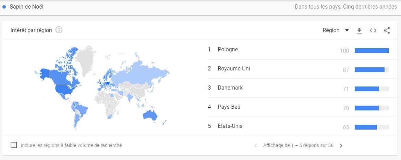 Repartition geographique de l interet de recherche de sapin de noel sur Google trends