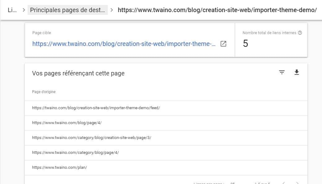 Rapport des liens internes d une page avec la Search Console