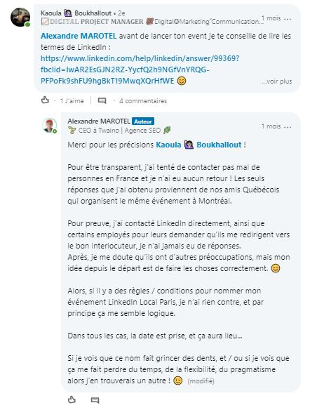 Discussions sur le nom de l evenement 1
