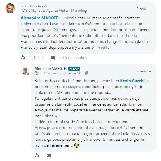 Discussions sur le nom de l evenement 3