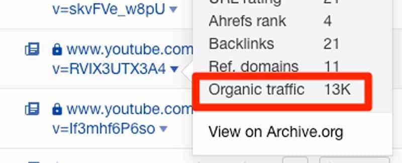 Trouver le trafic organique de chaque video YouTube