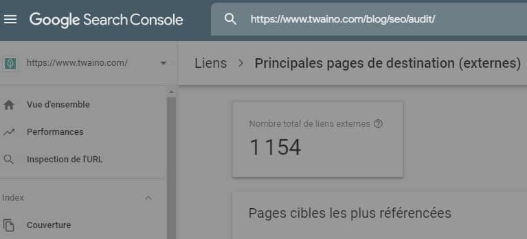 Inspection des liens avec la Search Console