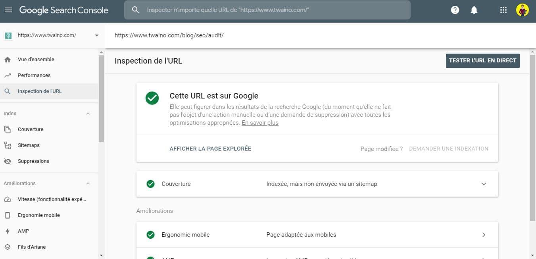 Demande d indexation d une page avec la Search Console 1