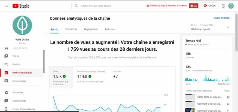Donnees Analytics de YouTube Studio