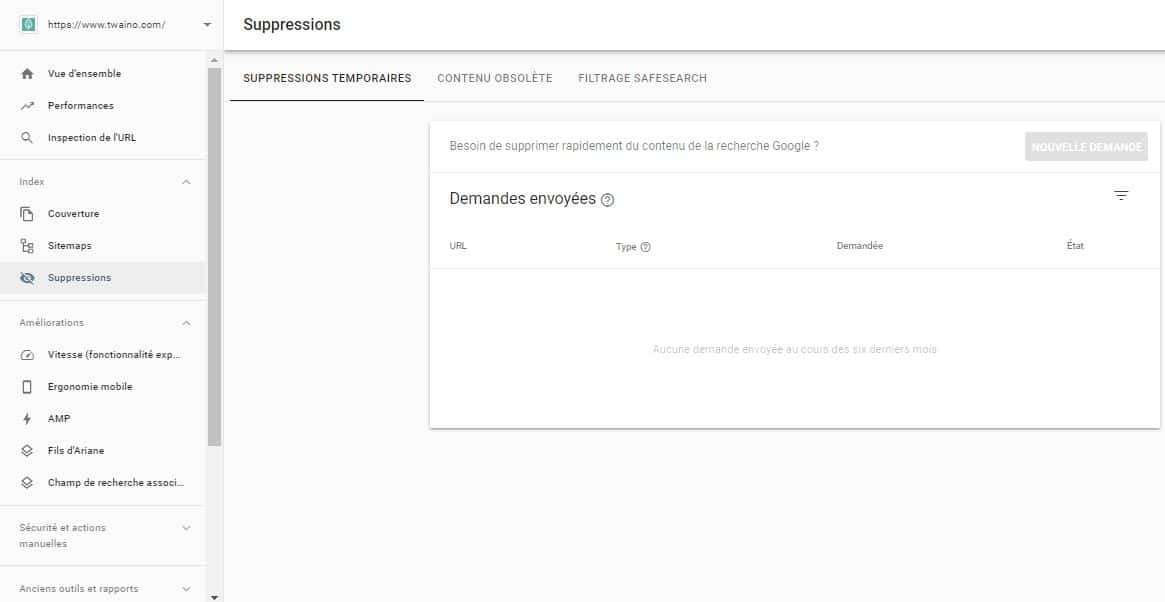 Suppression de liens dans Google Search Console