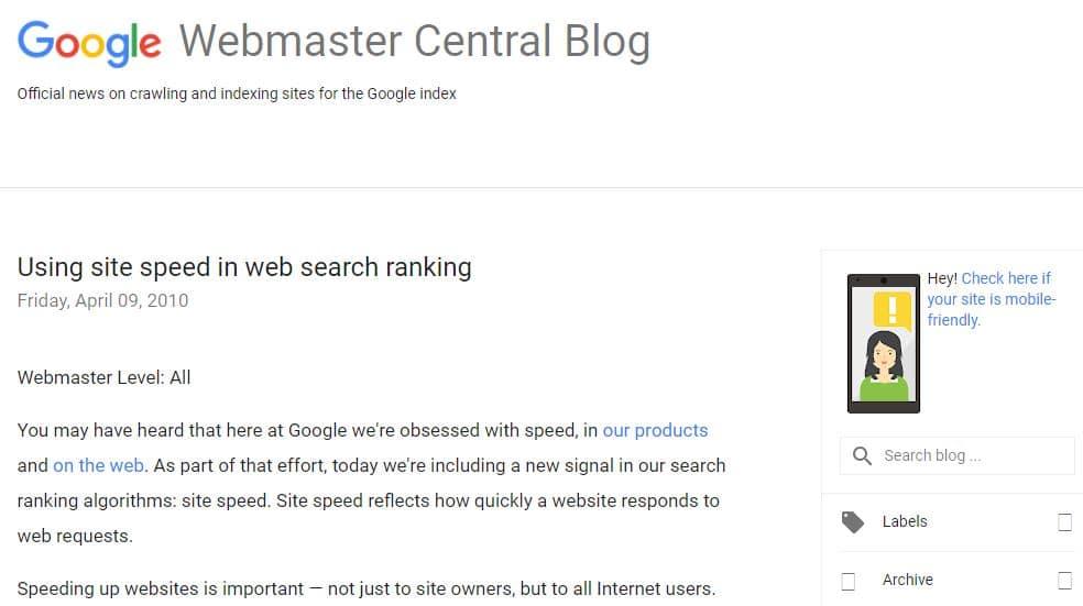 Google vitesse comme un facteur de classement