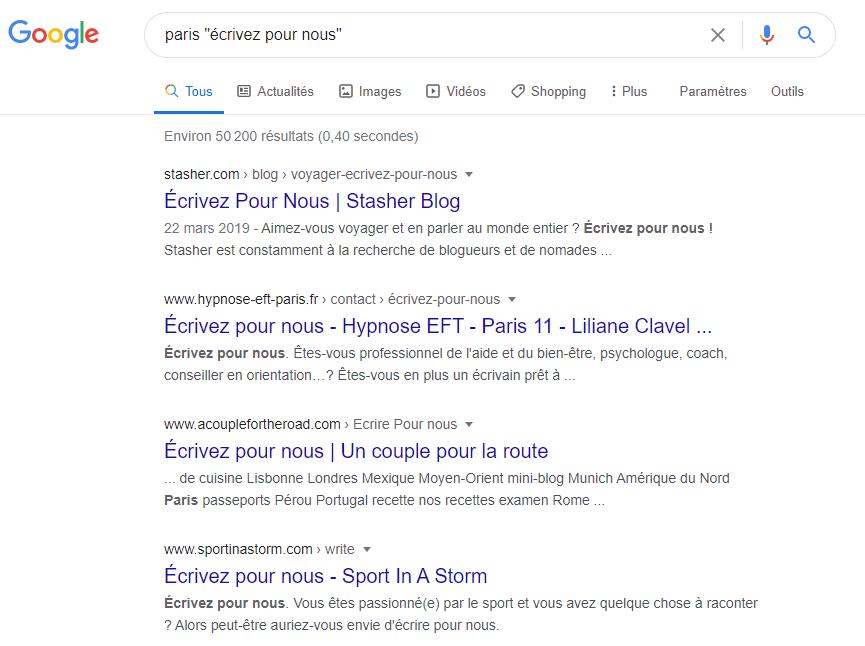 exemple rechercher un blog local SEO