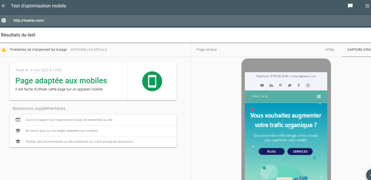 test d optimisation mobile google local SEO