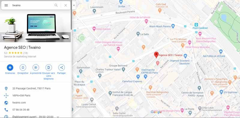 integrer une carte google maps local SEO