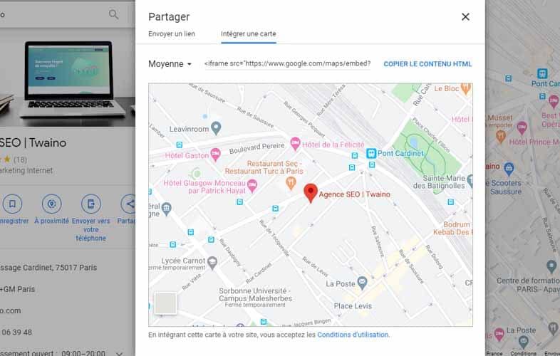 integrer une carte local SEO