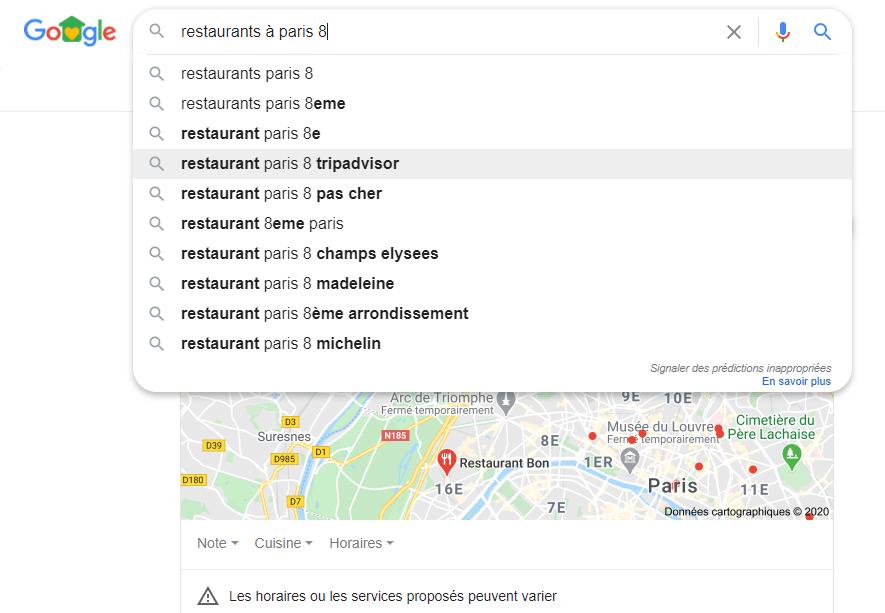 google autocomplete restaurant paris 8 local SEO