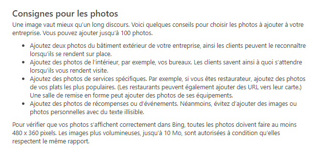 quelques regles sur bingplaces local SEO