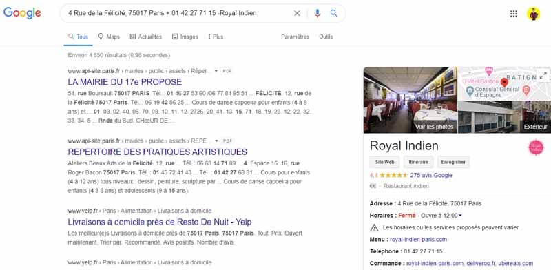 exemple NAP incorrect local SEO