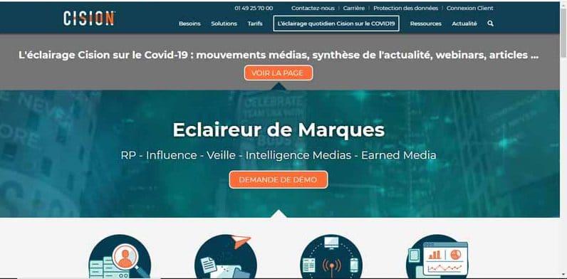 suite logicielle Cision dediee a la gestion des relations medias et le marketing digital