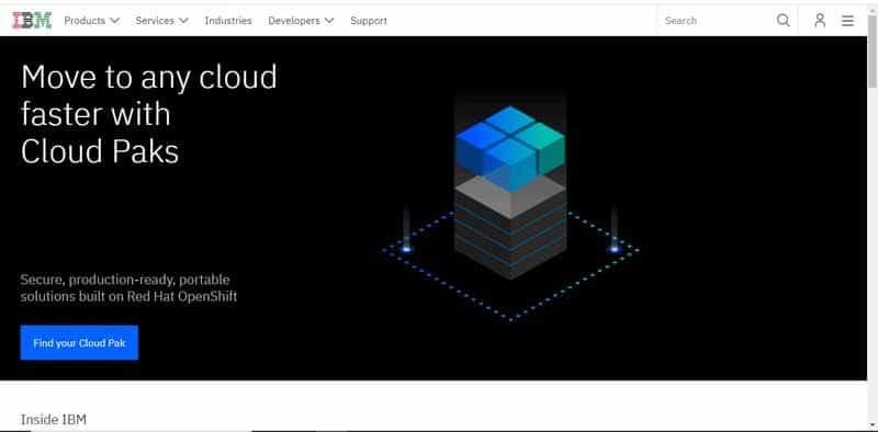 multinationale americaine International Business Machines IBM Corporation intervenant en informatique et dans le cloud computing