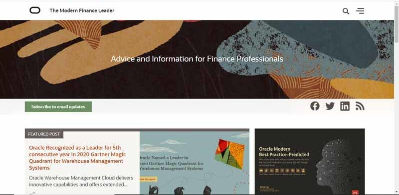 blog The Modern Finance Leader propose par Oracle et destine aux professionnels de la finance