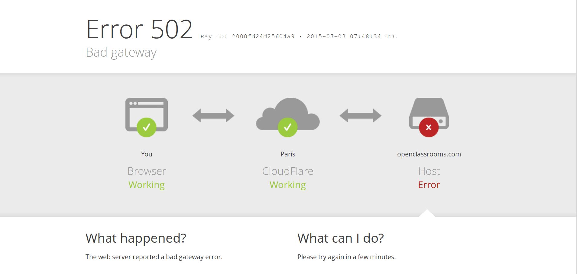 Une page d erreur 502