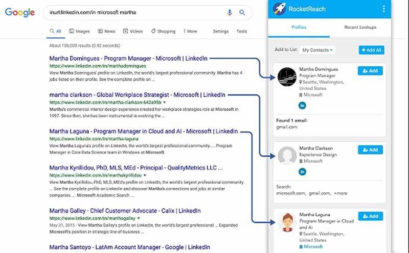 RoketReach outil fonctionnant sur LinkedIn