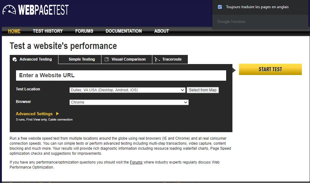 Web page test outil d analyse de la performance d un site internet