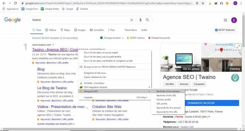 Mangools SEO prevoit des raccourcis pour analyser les backlinks ainsi que le profil du domaine