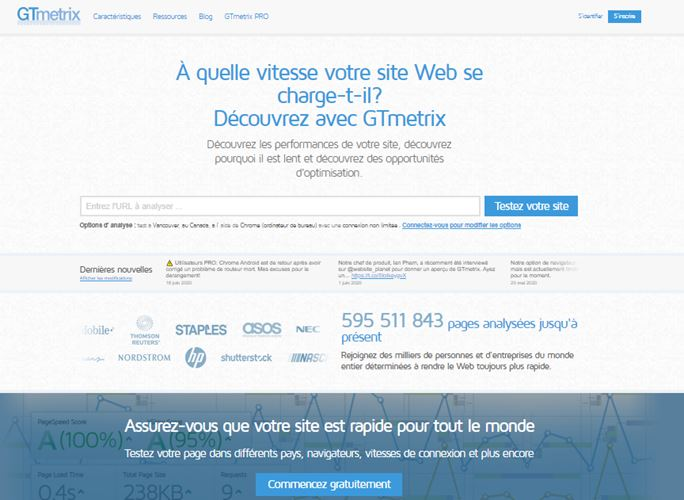 GTmetrix logiciel d analyse des performances liees a la vitesse de chargement d un site internet