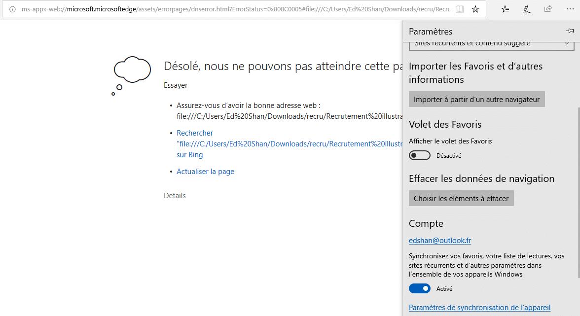 Supprimer le cache dans Microsoft Edge