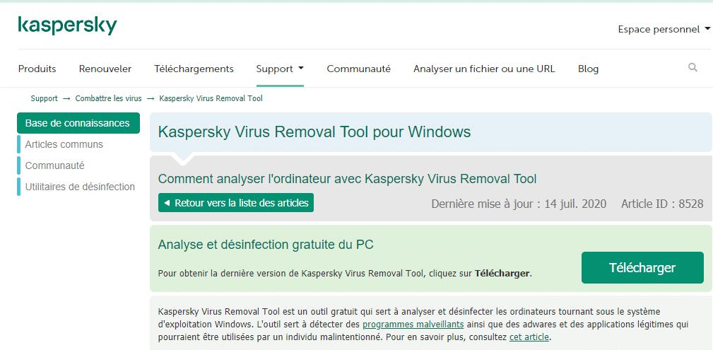 Un scan des virus pour regler les infections