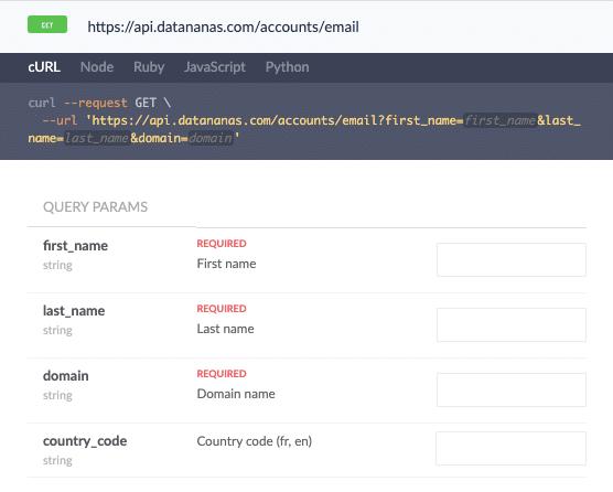 Datananas recueille les informations cles d un profil recherche sur n importe quel site