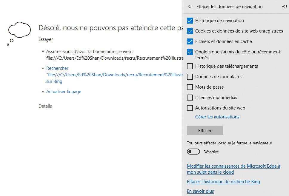 Microsoft Edge effacer cache et cookies