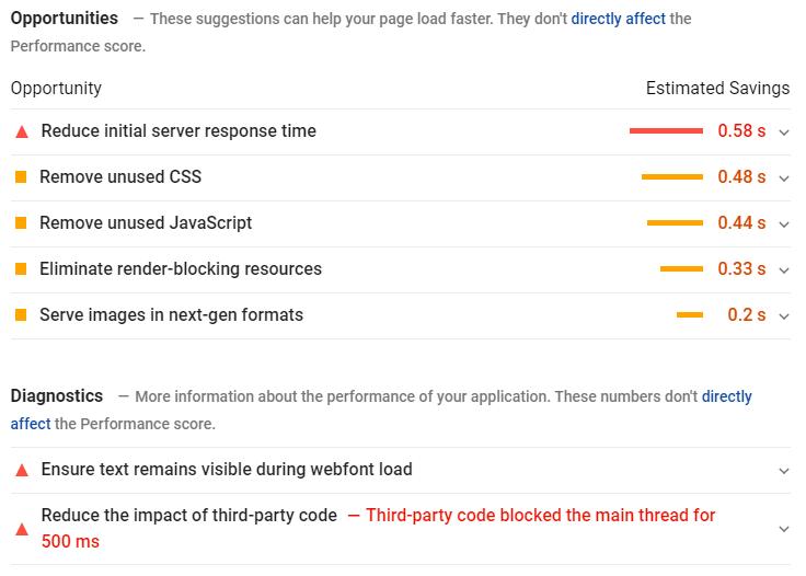 Les recommandations de l outil PageSpeed Insights de Google