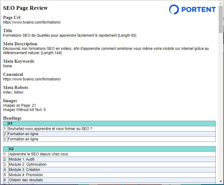 SEO Page Review est une extension par Portent qui donne les infomations importantes d une page