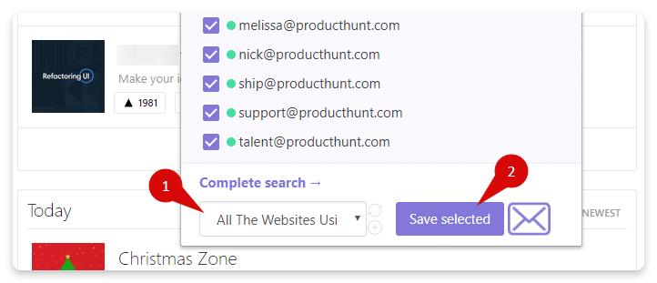 Snov io affiche une liste d emails qu on peut enregistrer dans sa liste de prospects
