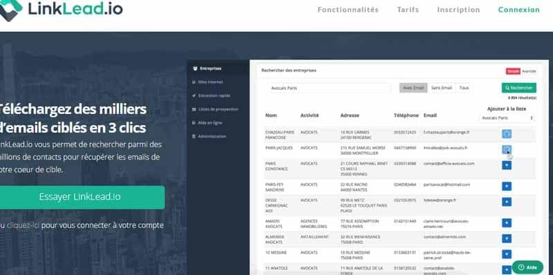 Linklead logiciel en ligne permettant de telecharger des fichiers comportant des milliers d adresses email