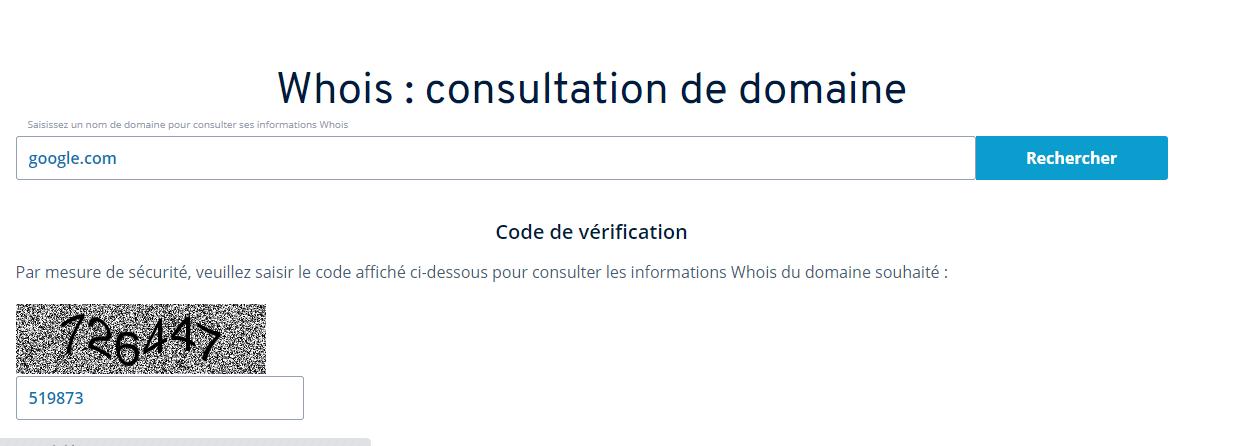 Outil de recherche public WHOIS permettant de trouver les informations de contact des titulaires des noms de domaine